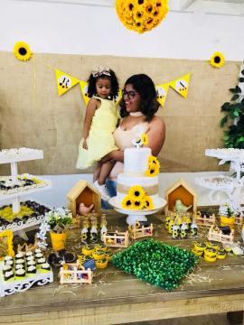 Aniversario Girassol DIY decoração rustica